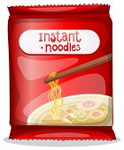 Illustration of a pack of an instant noodles on a white background