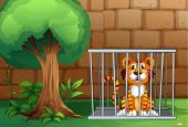 stock photo of animal cruelty  - Illustration of a tiger inside the animal cage - JPG