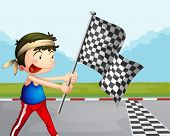 Illustration of a young boy holding a checkered banner