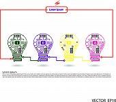 Light Bulb Idea Concept Template ,light Bulb Circuit Symbol.