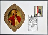 Stamp dedicated to Mozart shows symbol of the 50th anniversary of the Salzburg Festival