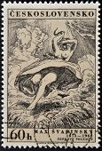 stamp printed in Czechoslovakia shows draw