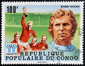 stamp printed in Congo dedicated to the World Cup in Argentina 1978 shows Bobby Moore