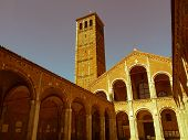 Retro Looking Sant Ambrogio Church, Milan