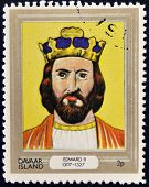 stamp printed in Davaar Island dedicated to the kings and queens of Britain shows King Edward II