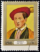 stamp printed in Davaar Island dedicated to the kings and queens of Britain shows King Edward VI