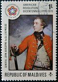 stamp dedicated to american revolution bicenntennial shows General John Burgoyne by Sir J. Reynolds