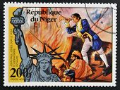 NIGER - CIRCA 1976: stamp printed in Niger shows Statue of Liberty and john paul jones circa 1976