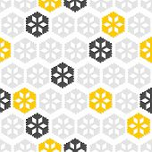 light and dark gray and yellow star snowflakes in regular rows