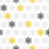 gray and yellow little dots snowflakes in rows winter seasonal seamless pattern on white