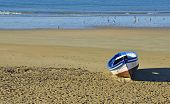 Boat on the beach of Cadiz, Spain