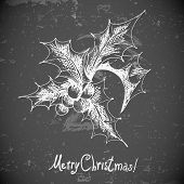 Christmas Holly elements for retro design