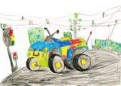 quad bike. child drawing