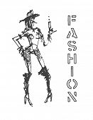 Fashion models. Sketch. Hand drawn.  Vector eps8