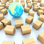Cardboard boxes around global on white background 3d