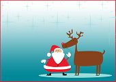 stock photo of rudolph  - Santa and rudolph christmas background with space - JPG