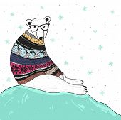 Christmas Card With Cute Hipster Polar Bear. Bear With Fair Isle Style Sweater.