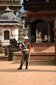 Nepalese guard of Honor standing in Durbar square