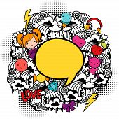 image of kawaii  - Abstract background with cute kawaii doodles - JPG