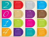 Color Ribbon Calendar Design For 2014