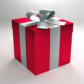 3d illustration of a red gift boxes with silver ribbon and bow