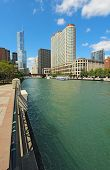 Skyline Of Chicago, Illinois Along The Chicago River Vertical
