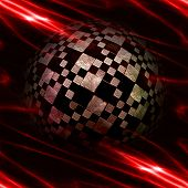 picture of plasmatic  - Abstract glowing plasmatic laser background with distorted checkered ball - JPG