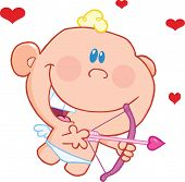 foto of ero  - Cute Baby Cupid Flying With Bow And Arrow Cartoon Character - JPG