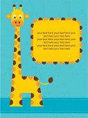 Baby shower card / birthday card with giraffe.Vector illustration.