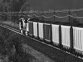 Greyscale Coal Train