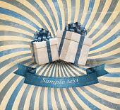 Retri holiday background with blue gift ribbon with gift boxes. Vector