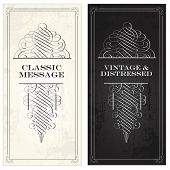 Vector vintage and victorian ornaments on matching frames. Distressed backgrounds are easy to edit.