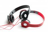 black and red headphones on white background
