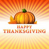 Happy Thanksgiving Day - Autumn Illustration With Pumpkin And Fall Leaves Over Rays
