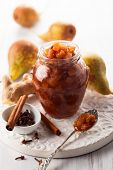 Pear and ginger chutney in a jar