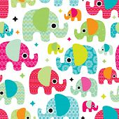 Seamless retro elephant kids illustration with aztec details pattern wallpaper background in vector