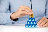 stock photo of human pyramid  - Human resources and corporate hierarchy concept  - JPG