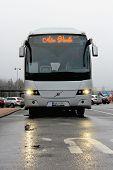 Grey Volvo Coach Bus