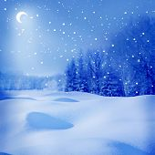 stock photo of snowy hill  - winter night - JPG