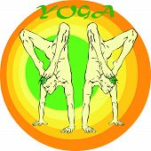 pic of ashtanga vinyasa yoga  - Hand drawn illustration about the handsome yogi playing asanas positions - JPG