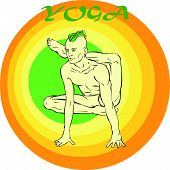 foto of kundalini  - Hand drawn illustration about the handsome yogi playing asanas positions - JPG