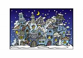 cartoon winter fairytale town