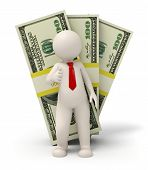 3D Business Man - Pack Of Money - Thumbs Up
