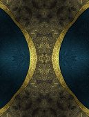 Abstract Dark Background With Blue Edged With Gold Trim