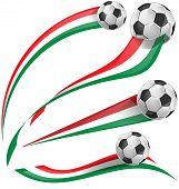 Italian Flag Set With Soccer Ball