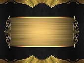 stock photo of nameplates  - Black background with gold edges with a beautiful finish and gold nameplate - JPG
