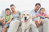 picture of labrador  - Happy family sitting on couch with their pet labrador at home in the living room - JPG