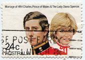 AUSTRALIA, CIRCA 1981:  Postal stamp commemorating the royal wedding of Prince Charles and Lady Dian