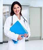 Smiling medical doctor woman with stethoscope. Health care.