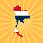 Thailand map flag on sunburst illustration